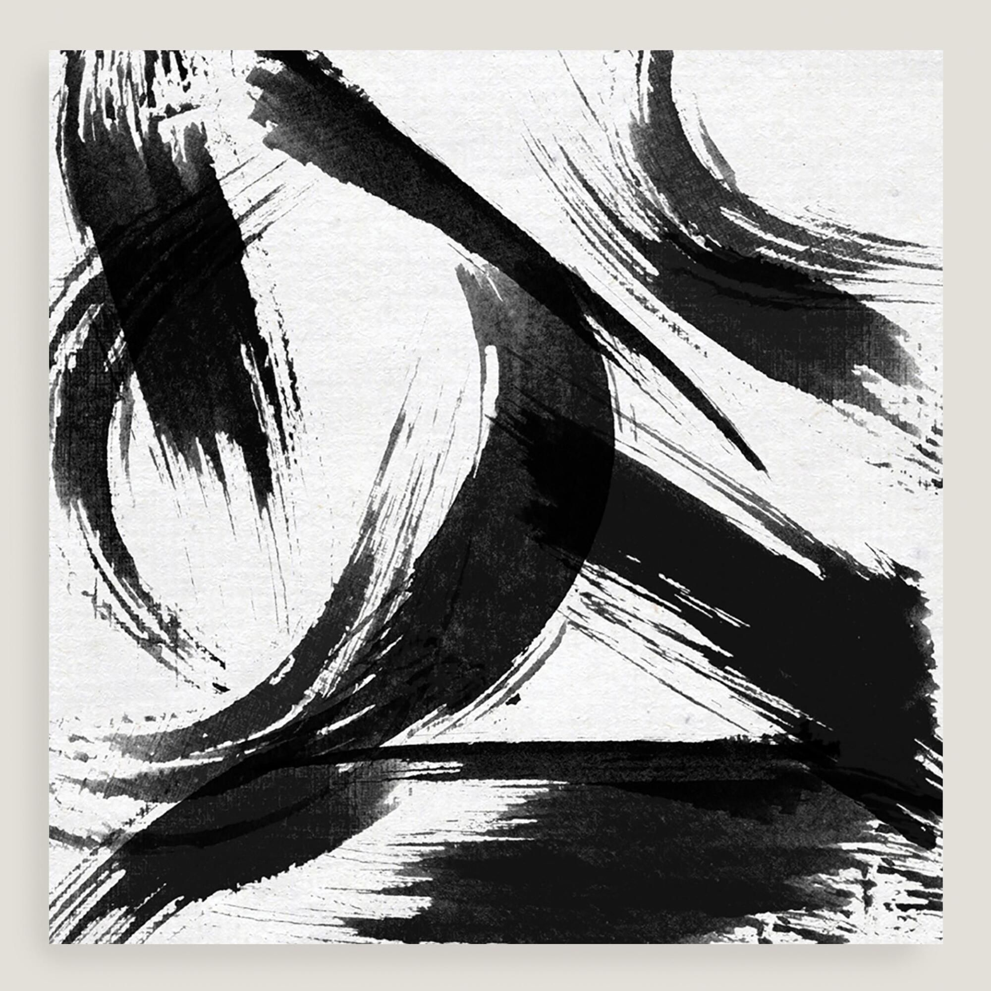 Black and White Abstract Canvas Wall Art by World Market is part of Modern Home Accents Wall Art - Wall Art Chic and modern, this piece features huge brushstrokes in black on a white stretched canvas  Hang it on any bare wall to create a stylish statement in an instant  Material , ColorBlack  Also could be used forCanvas,Wall art,Home décor,ocean picture,poster,love,heart,abstract  By Cost Plus World Market 10013247