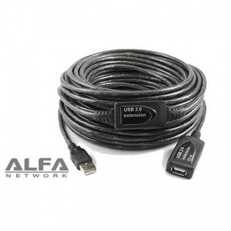 ALARGADOR USB ALFA NETWORK AUSBC-20M - CONECTORES MACHO-HEMBRA - PLUG AND PLAY - USB2.0 - 20 METROS. Muy útil para la conexión de internet. http://informaticamipc.com