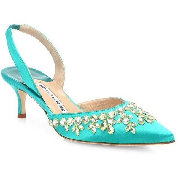 3f12c611b15 Manolo Blahnik Carolyne Crystal-Embellished Satin Slingbacks ( 385) ❤ liked  on Polyvore featuring shoes