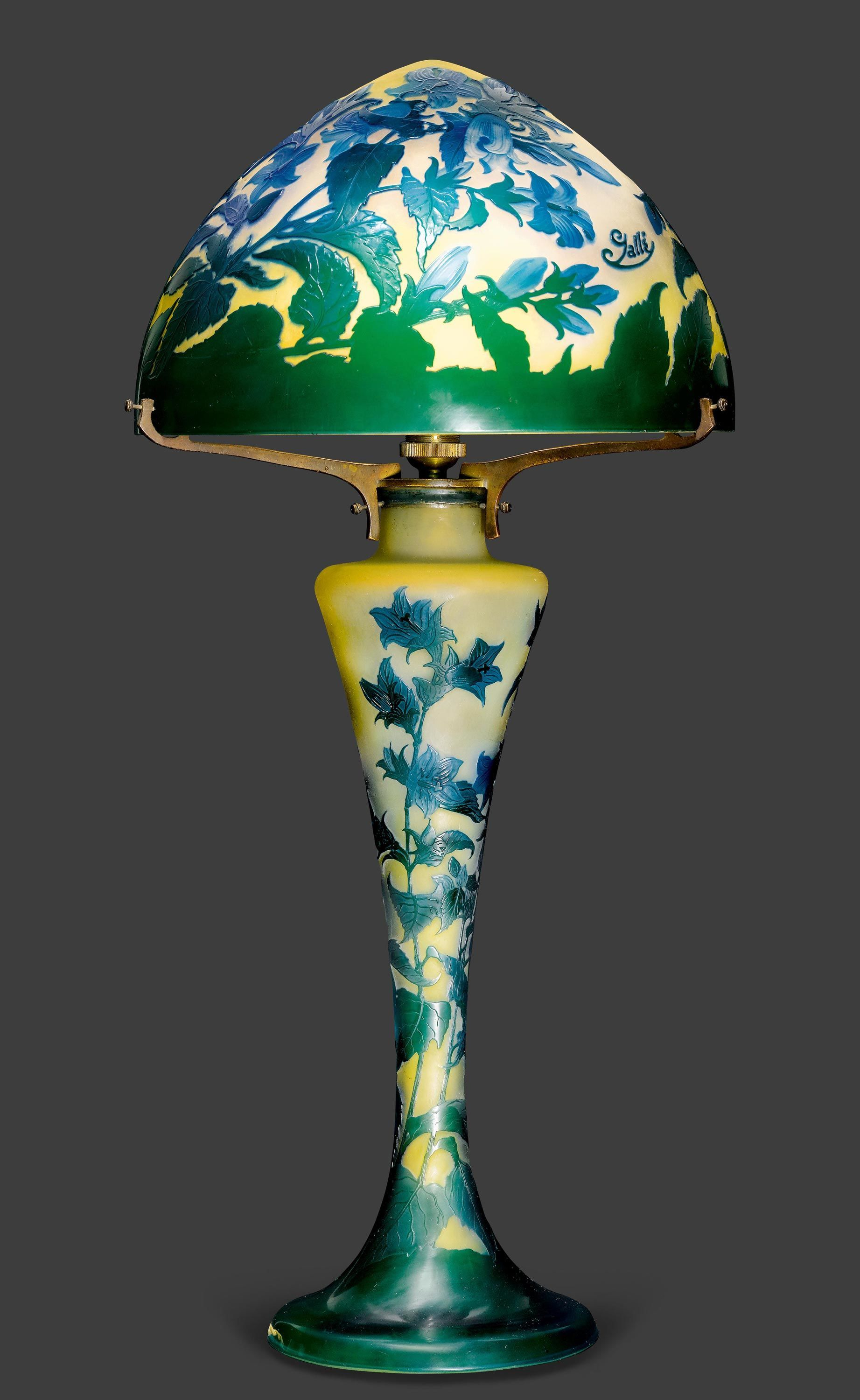 Emile Galle Table Lamp Ca 1900 Yellow Glass With Blue And Green