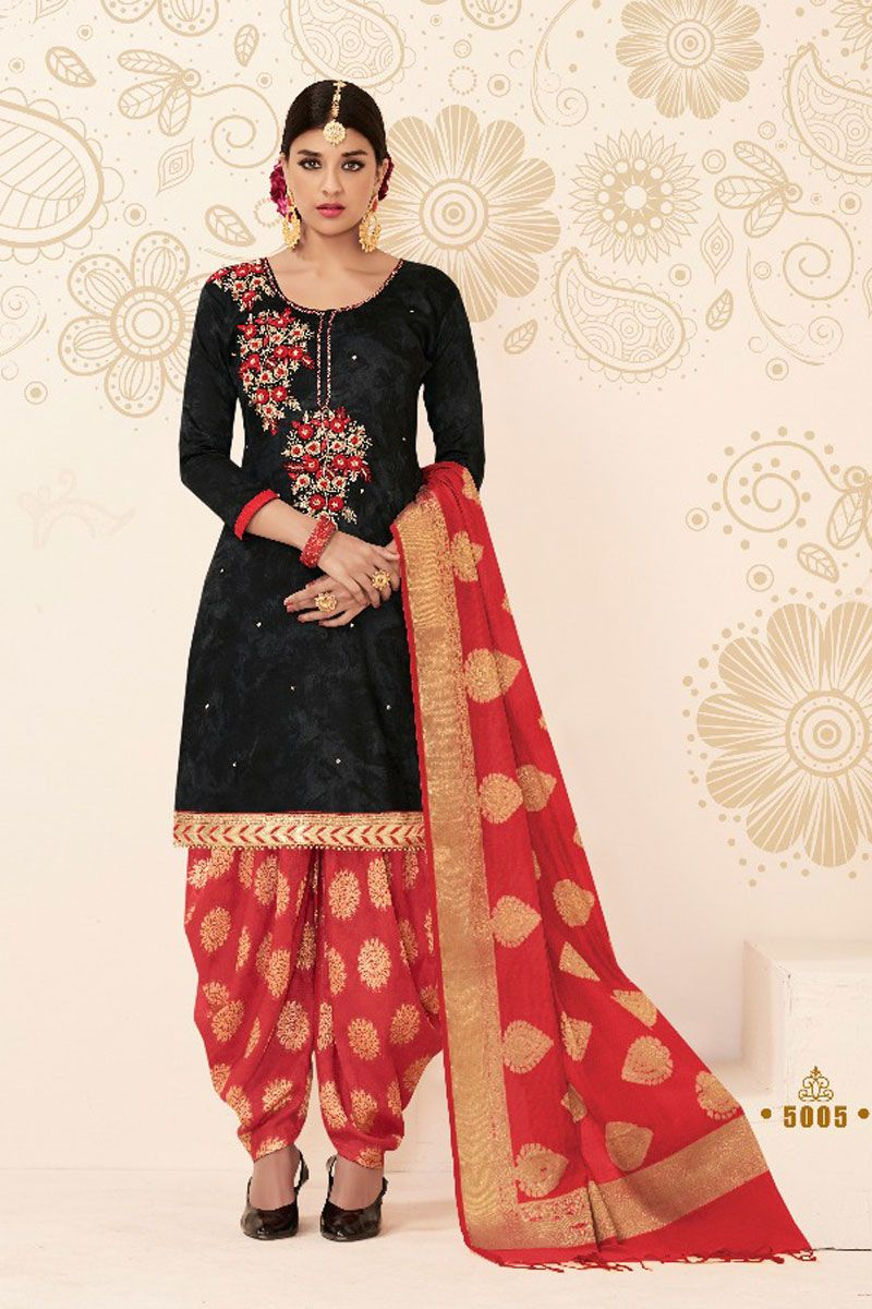 402e10082d Black-Embroidered-Festive-Ethnic-Wear-Chanderi-Cotton-Patiyala-Suit-With- Banarasi-Silk-Dupatta-5005-16861 Catalog No : 4561 WWW.LKFABKART.