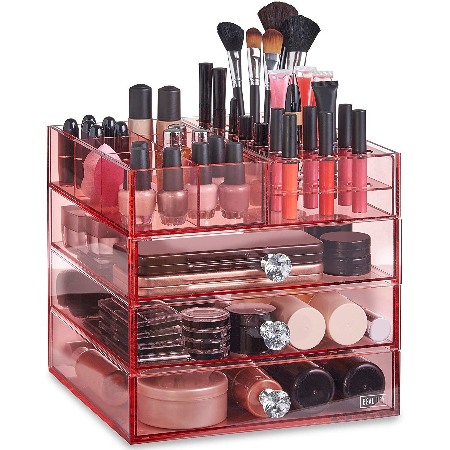 Beautify Large 4 Tier Blush Pink Acrylic Cosmetic Makeup Storage Cube Organizer With 3 Drawers And 6 Upper Makeup Storage Makeup Organization Makeup Cosmetics