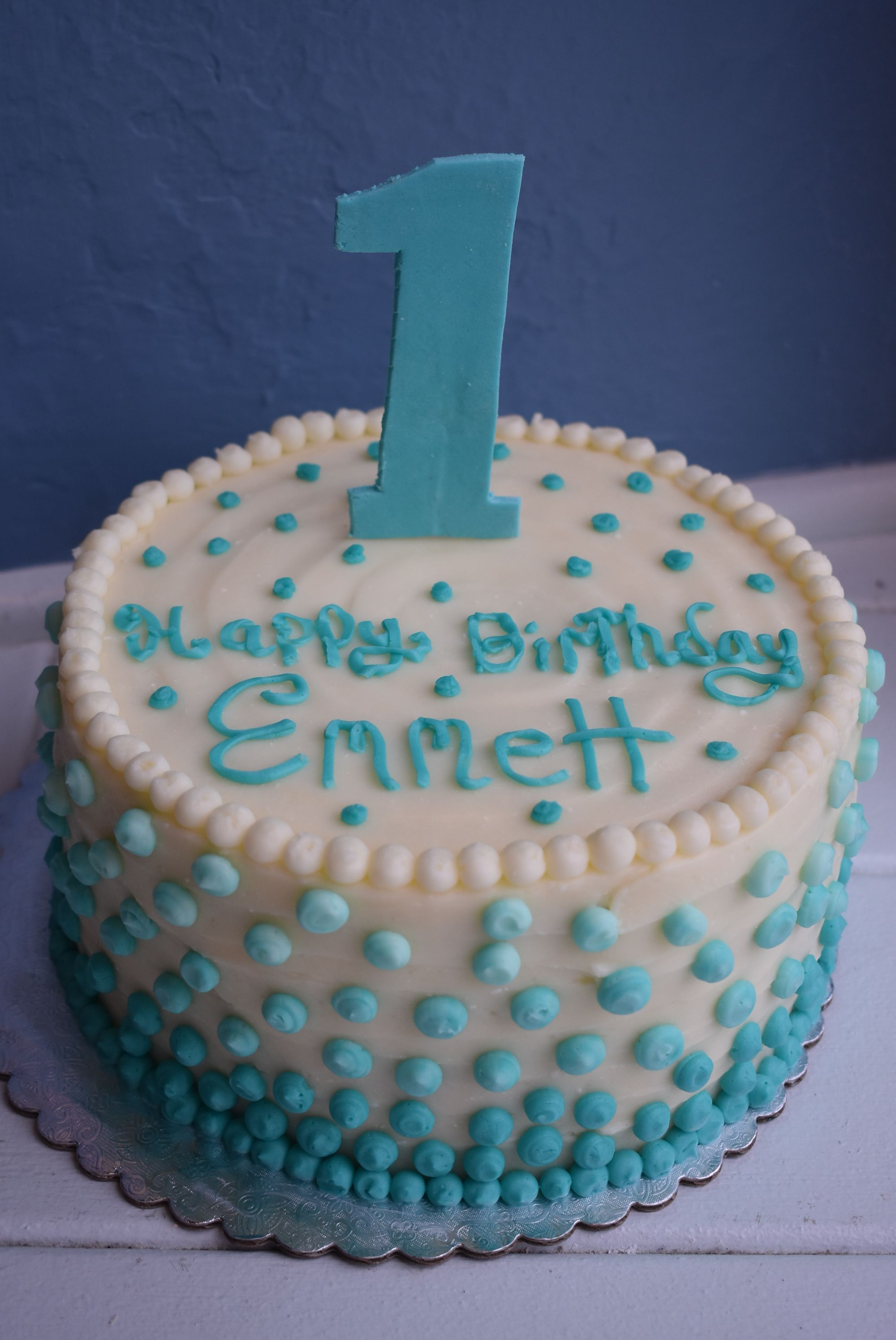Ombre Dot Smash Cake With Number One Roanoke Va Willow Pond Bakery