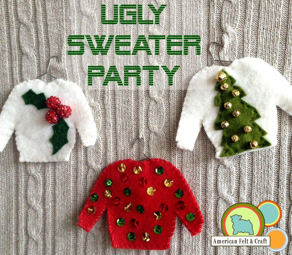 ugly christmas sweater felt ornament tutorial - Ugly Christmas Decorations
