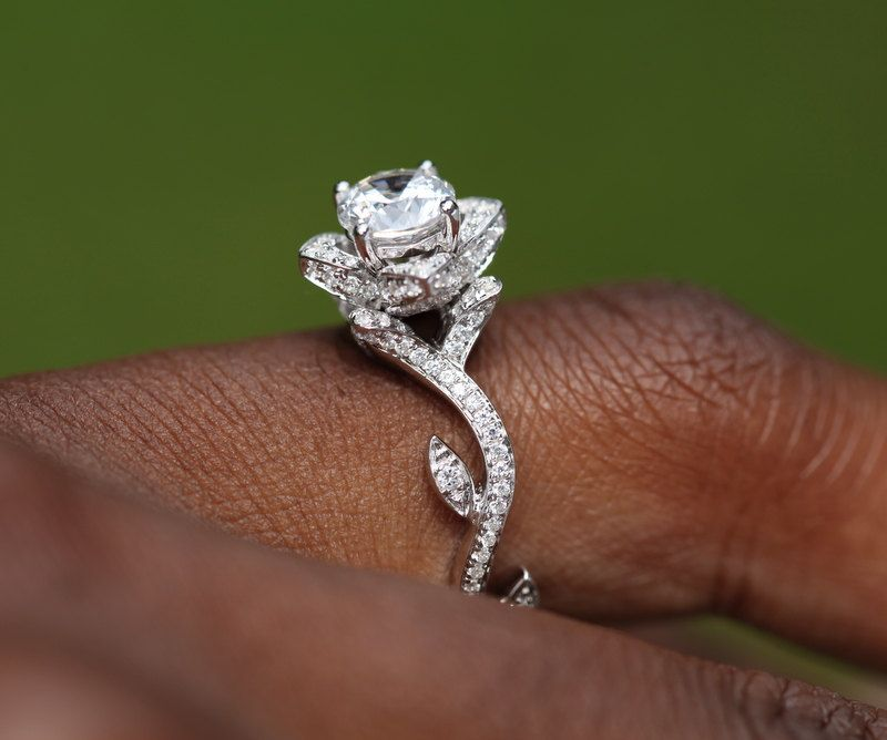 Flower Rose Lotus Diamond Engagement Or Right Hand Ring