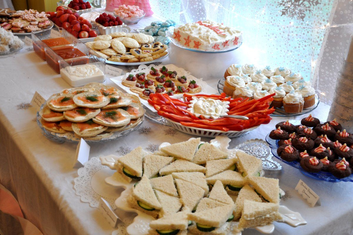 Birthday Party Food Ideas Cucumber sandwiches candy cane blossoms
