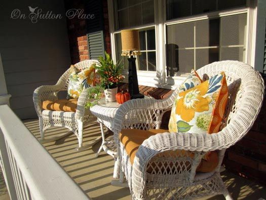 Images Of Decorating With Wicker Furniture White Colorful Autumn Pillows
