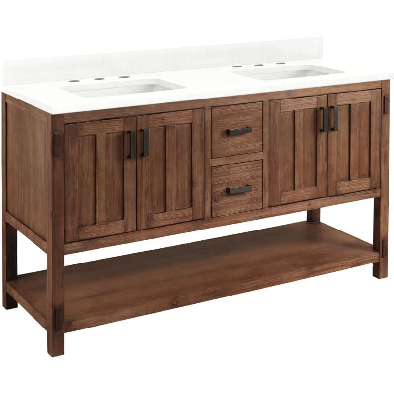 Signature Hardware 944315 8 Morris 60 Double Vanity Set With Wood Cabinet Vanity Top And Rectangular Und In 2021 White Bathroom Storage Undermount Sinks Wood Cabinets