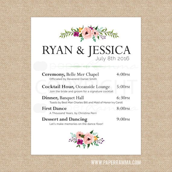 floral wedding welcome sign wedding schedule of events poster