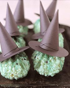 Witch Popcorn Favors.  cute idea!  you could even use candy corn for the nose or replace the entire thing with a granny smith apple.
