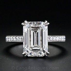 4.00 Carat GIA G-SI1 Emerald-Cut Diamond Engagement Ring