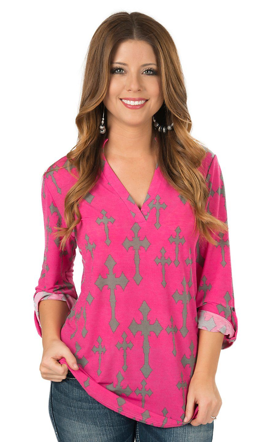 Cowgirl Hardware Women\'s Pink with Grey Cross Print 3/4 Sleeve Top ...
