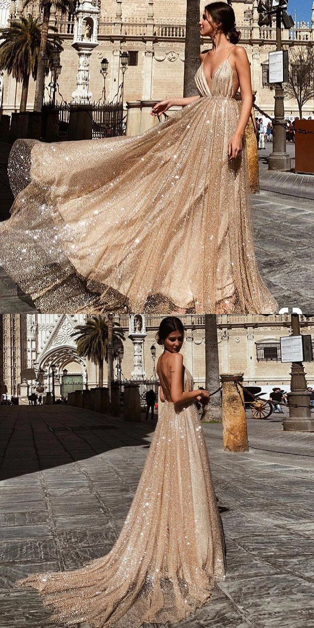 Sparkly champagne spaghetti strap long prom dress in formal