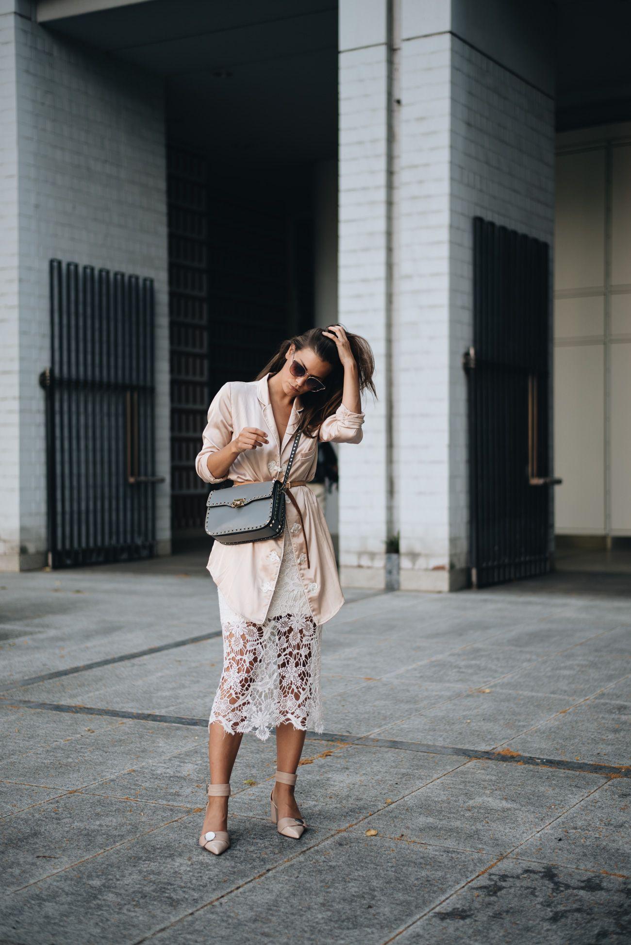 Outfit & Event: Nude Look w/ Grey Valentino Garavani Rockstud ...