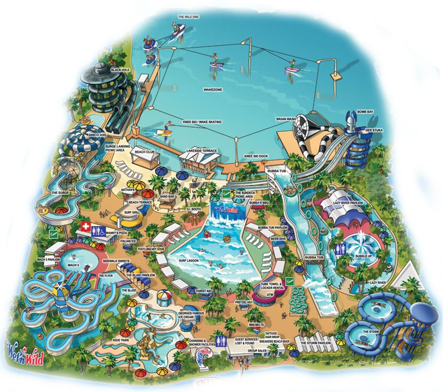 Map Of Wet N Wild Orlando Wet'n Wild Orlando Map of Wet n Wild Water Park Attractions