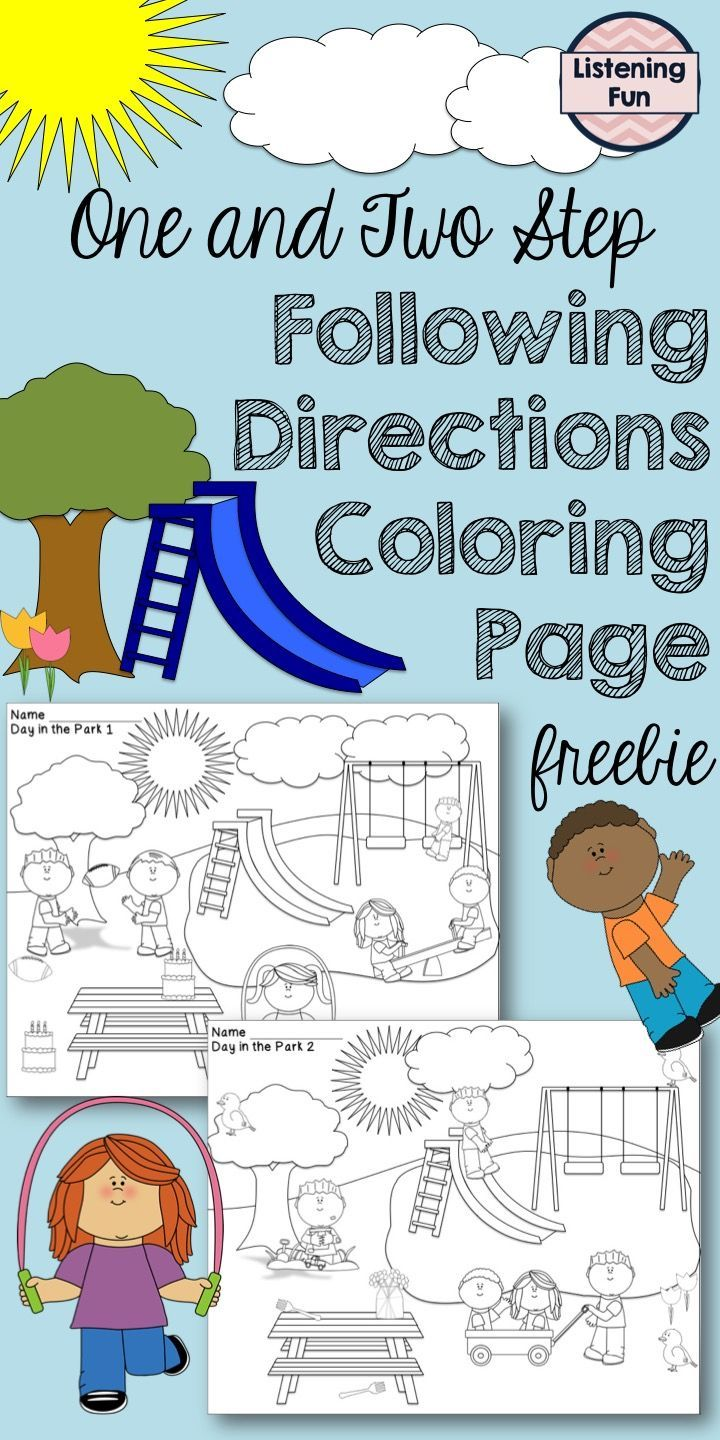 One and two step directions coloring pages. Also includes barrier ...