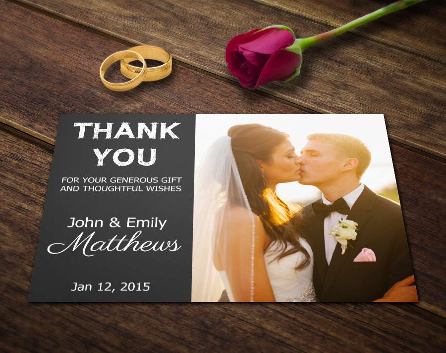 Wedding Thank You Card Template Photoshop Templates Etsy Thank You Card Template Thank You Cards Wedding Thank You Cards