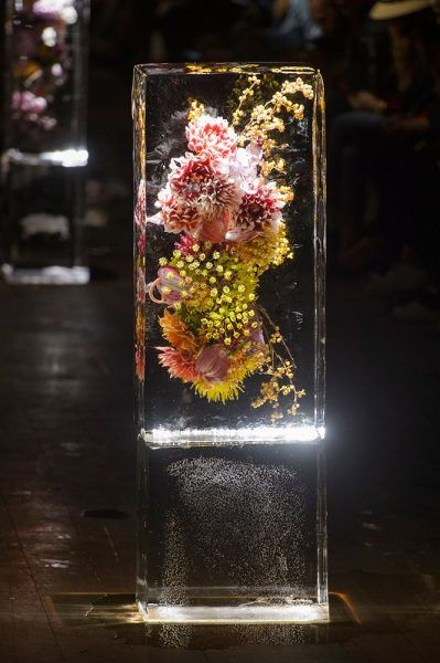 "moodboardmix: ""Azuma Makoto's ""Iced Flowers"" at Dries Van Noten Paris SS Paris  Fashion Week."