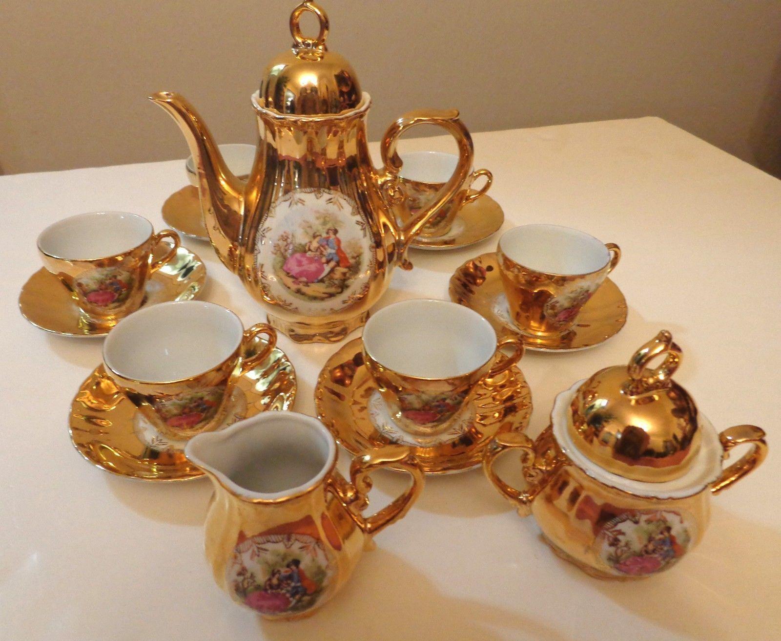 vintage tea sets VINTAGE TEA SET Japan GILDED GOLD