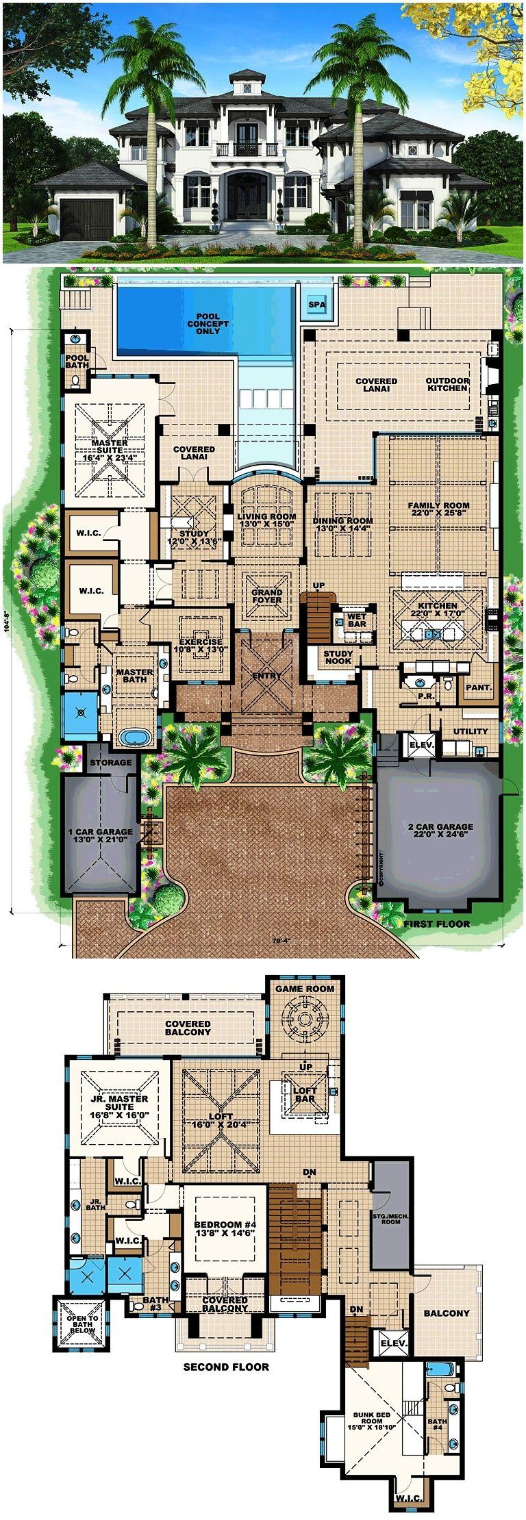 Mediterranean Style House Plan with 4 Bed 6 Bath 3 Car Garage