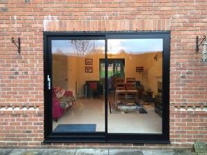 Charming Black Woodgrain And Black Slimline Aluminium Sliding Patio Doors3