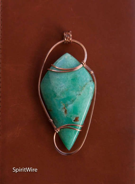 Colossal Chrysoprase Wire Wrapped Stone Pendant by SpiritWire ...