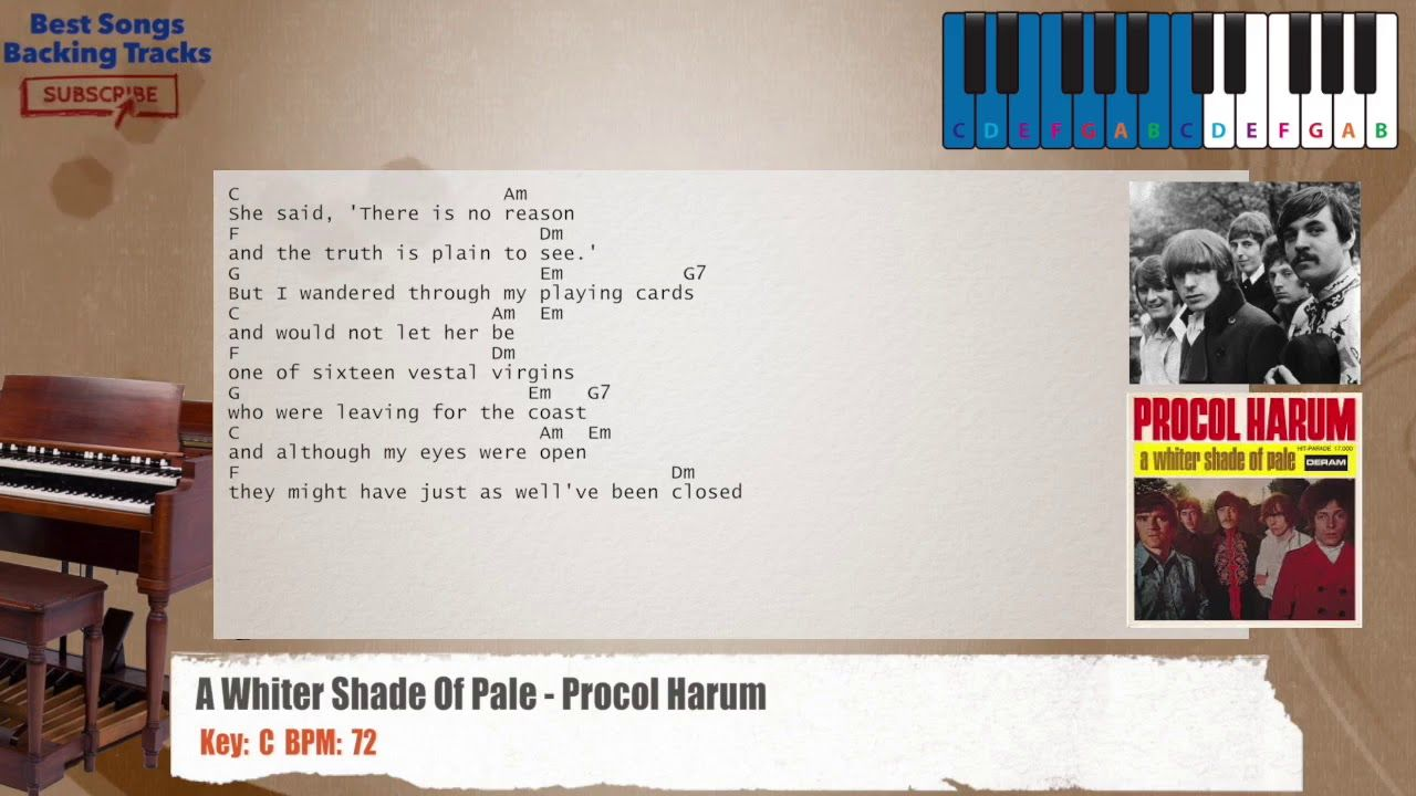 A Whiter Shade Of Pale Procol Harum Piano Backing Track With