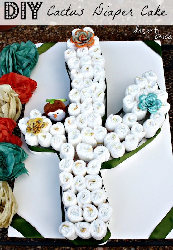 Create A Cactus Diaper Cake With Baby Diapers Taco Baby Shower