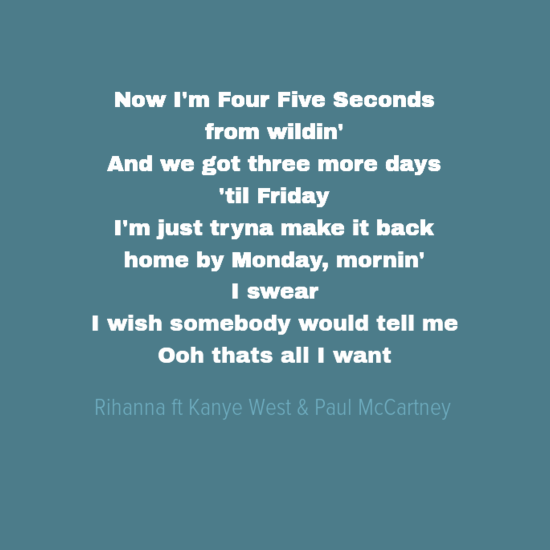Fourfiveseconds By Rihanna Featuring Kanye West Paul Mccartney Kanye West Paul Mccartney Paul Mccartney Songs