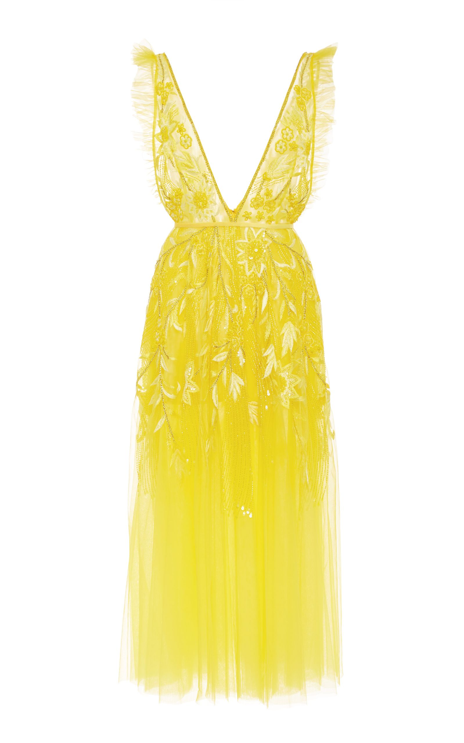 Embroidered Tulle Dress By Naeem Khan For Preorder On Moda Operandi