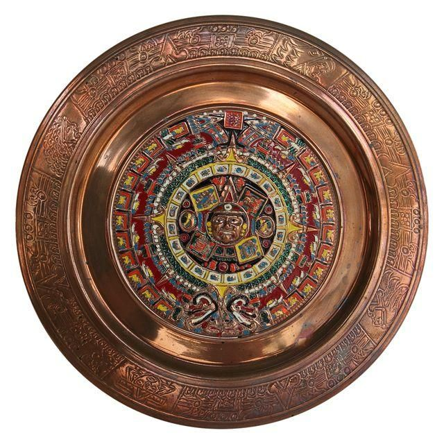 Image of Vintage Mayan Calendar Copper Plate