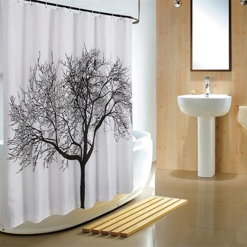 Waterproof Bathroom Mould Proof Fabric Weave Curtain Tree Shower ...