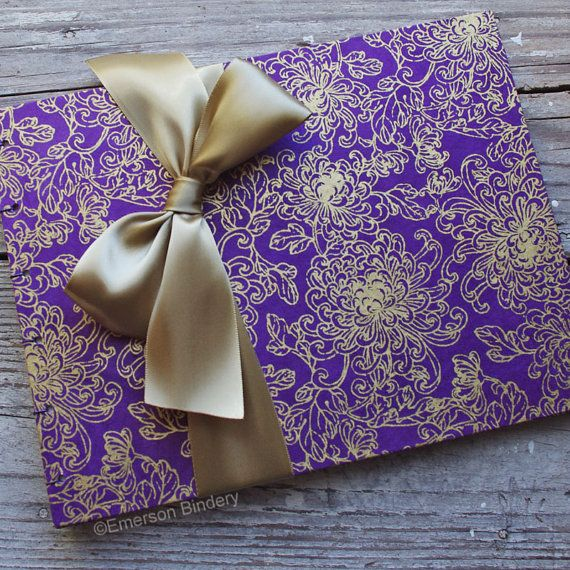 wedding guest book purple and gold flowers made upon order