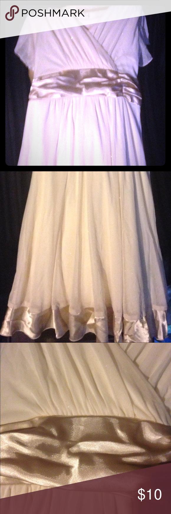 Flower girls dress Beige sparkle floor length girls size 12 runs small more like an 8-10. Dresses Wedding