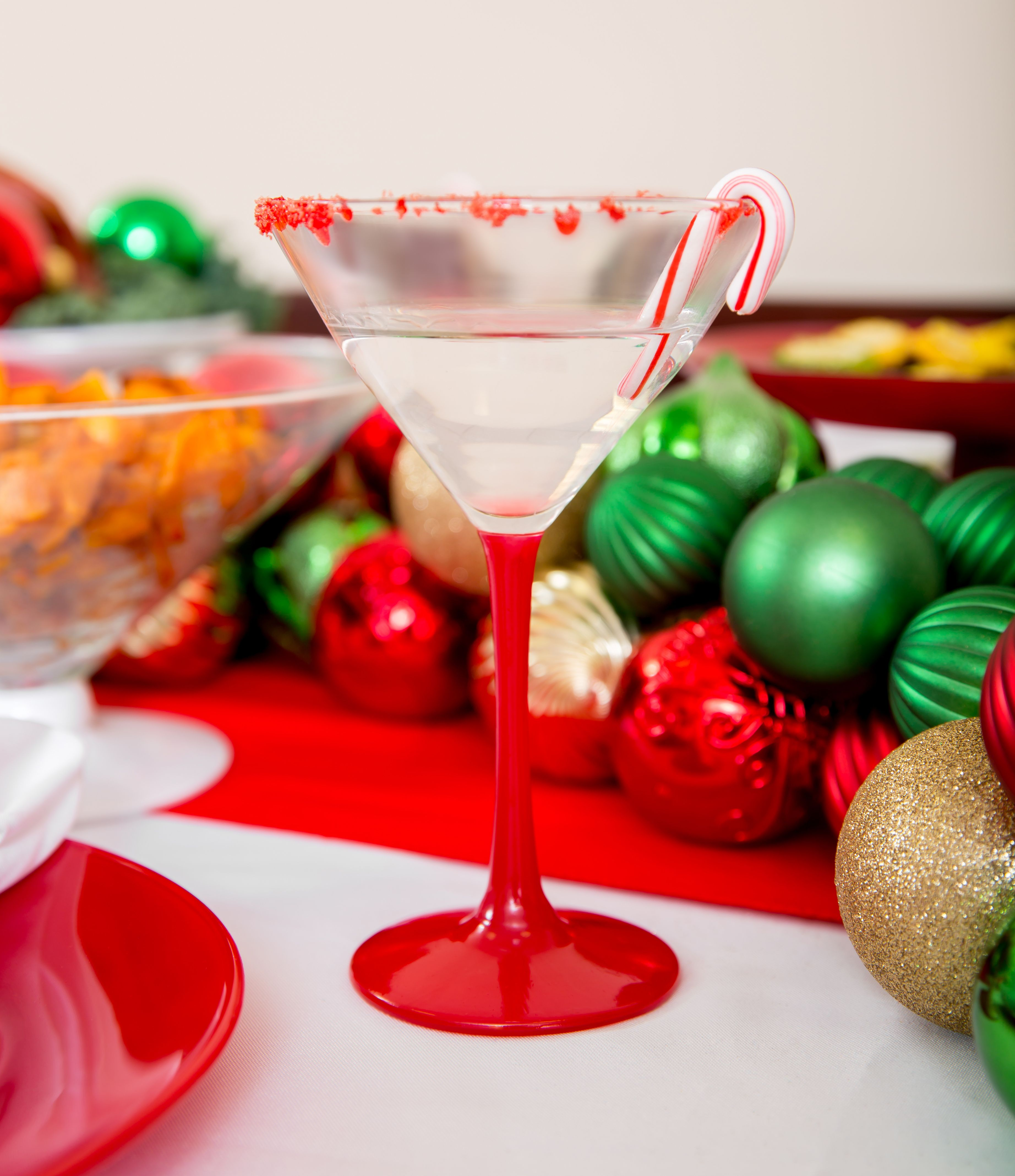 A Candy Cane Martini in our Red Martini Glass. A fabulous Christmas Tabletop from The Happy Hostess! Check out our blog for Christmas Party Ideas and tips! www.thehappyhostessonline.com