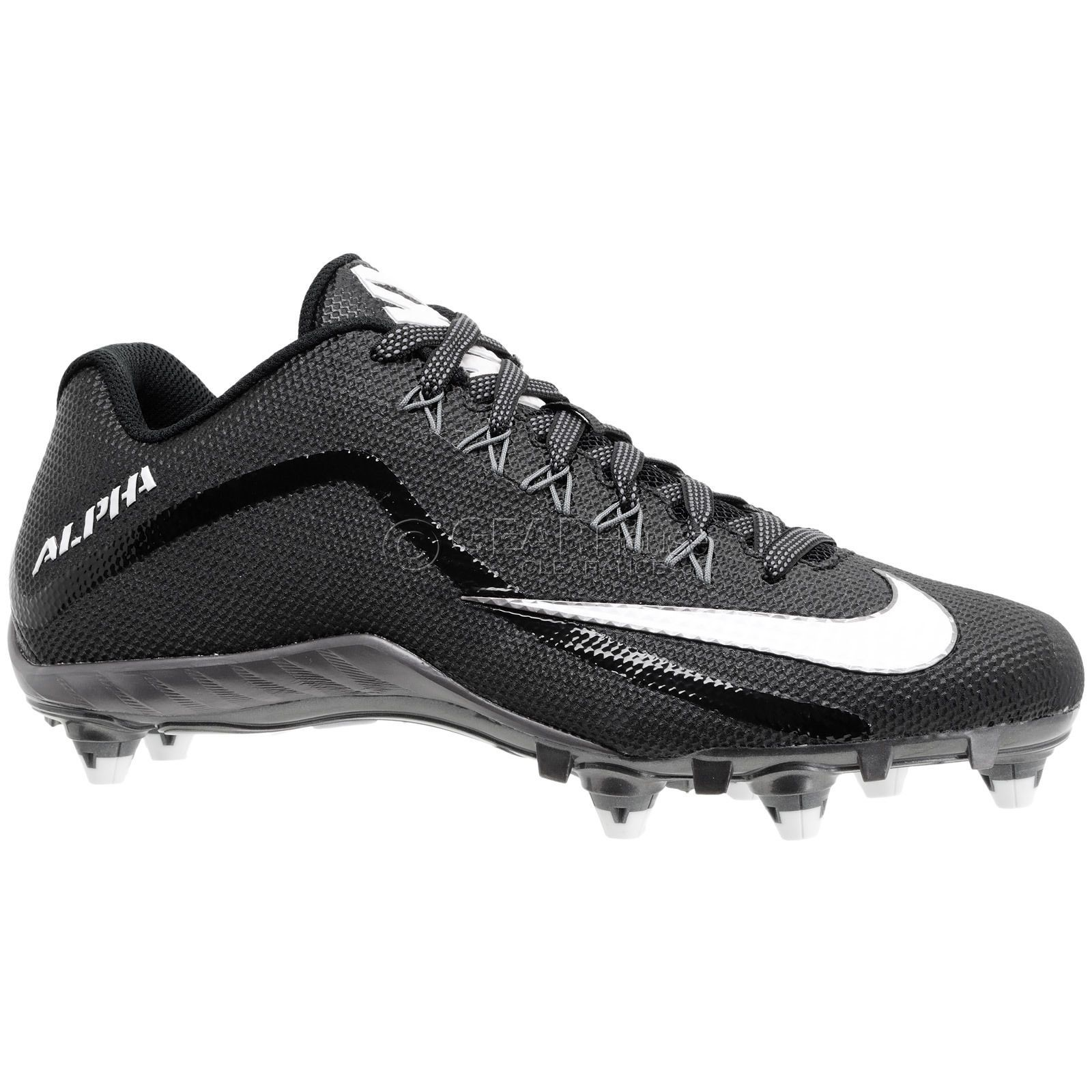 NIKE Alpha Pro 2 Low D Black White Detachable Football Cleats Mens 10 12 13 13.5 886066062592