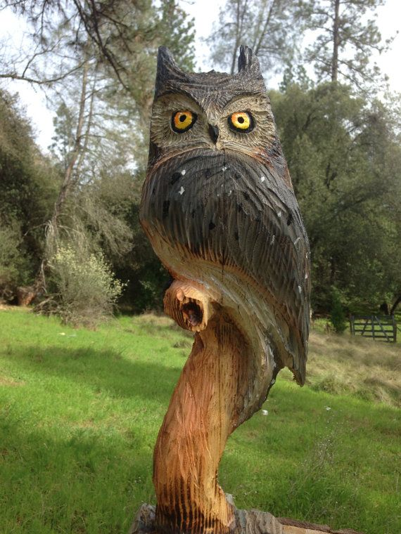 Chainsaw carved owlhand great horned owl wood by