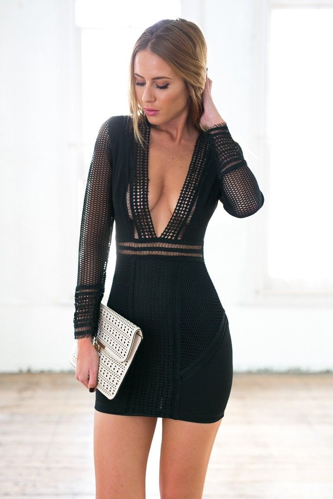 Black Long Sleeve Deep V Neck Front Bodycon Mesh Dress  ustrendy  www.ustrendy.com 9db9e785a