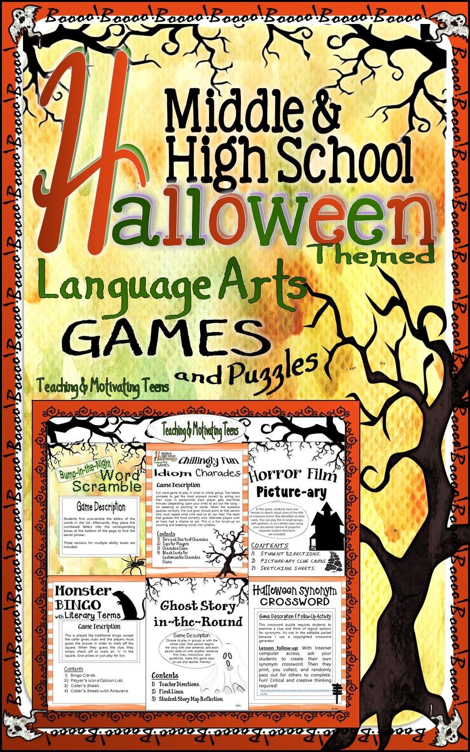 Halloween Activities for Middle School and High School ELA