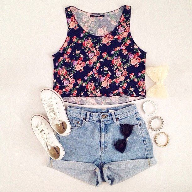 Floral Chiffon Vest - jean shorts - white converse : summer style