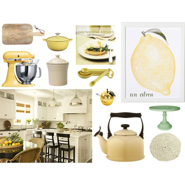 Yellow Green And Black In White Kitchen