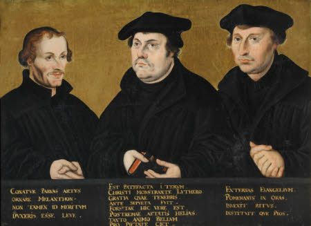 Philip Melanchthon (1497-1560), Martin Luther (1483-1546) and Johann Bugenhagen, called Dr Pommer (1485-1558) after Lucas Cranach the elder (Kronach 1472 – Weimar 1553). Three half-length portraits. Melanchthon on the left, Luther in the centre and Bugenhagen on the right.