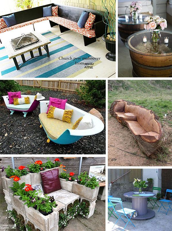 Collage of Images of Reclaimed   Repurposed Ideas For Outdoor Furniture. Collage of Images of Reclaimed   Repurposed Ideas For Outdoor
