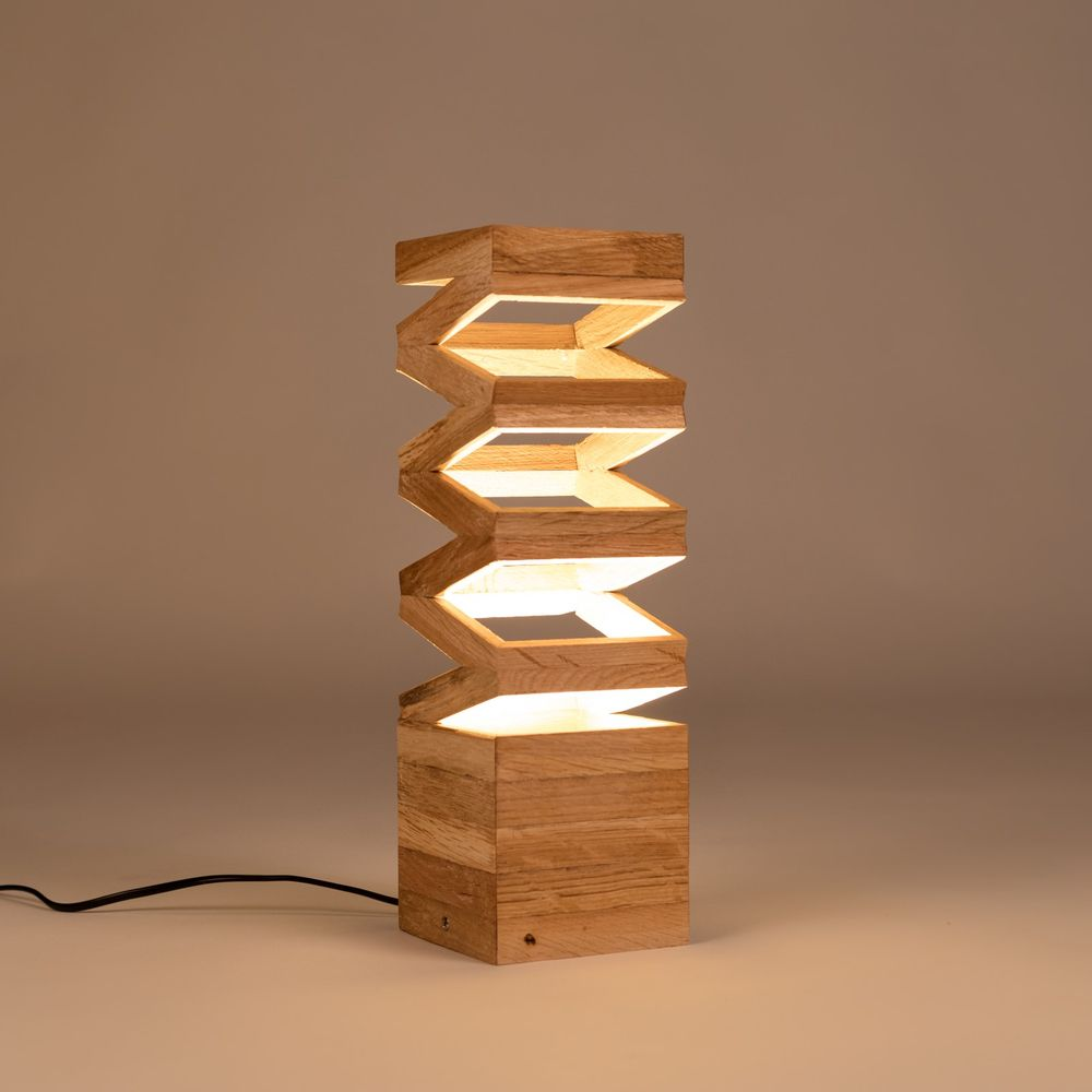 Backbone Wooden Design Lamp Made From Recycled Oak Wood Unique Design Table Or Floor Lamp