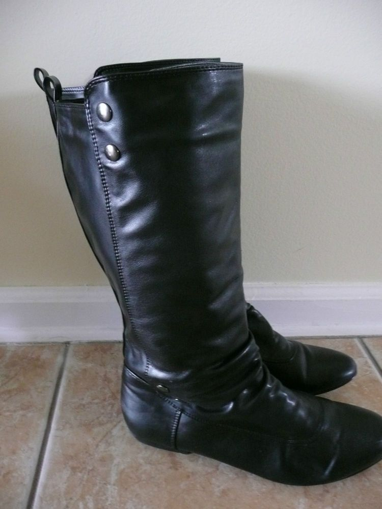 WANTED SYDNEY BLACK BOOTS SILVER BUTTONS FLAT ONLY WORN TWICE MID CALF SZ 9 #Wanted #FashionMidCalf #boots