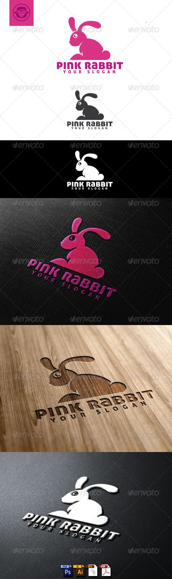 Pink Rabbit Logo Template — Photoshop PSD #simple #shop • Available here → https://graphicriver.net/item/pink-rabbit-logo-template/4884802?ref=pxcr
