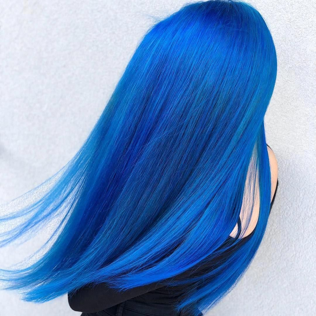 Gorgeous Color From Hair Elio Mix Cyan Sky With A Touch Of Blue Velvet For A Bright Blue Lunartideshair Bright Blue Hair Hair Styles Long Hair Styles