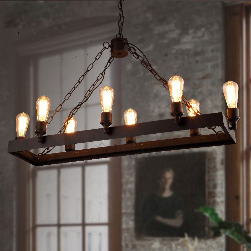 Rustic 8 Light Wrought Iron Industrial Style Lighting Fixtures Industrial Style Lighting Rustic Light Fixtures Industrial Light Fixtures