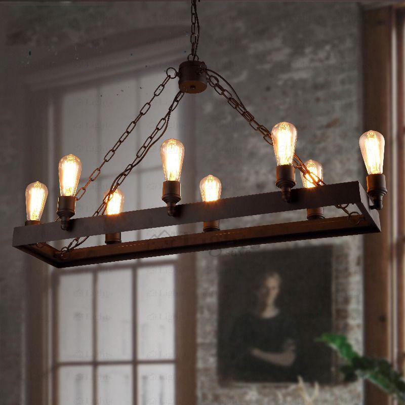Rustic 8 Light Wrought Iron Industrial Style Lighting Fixtures