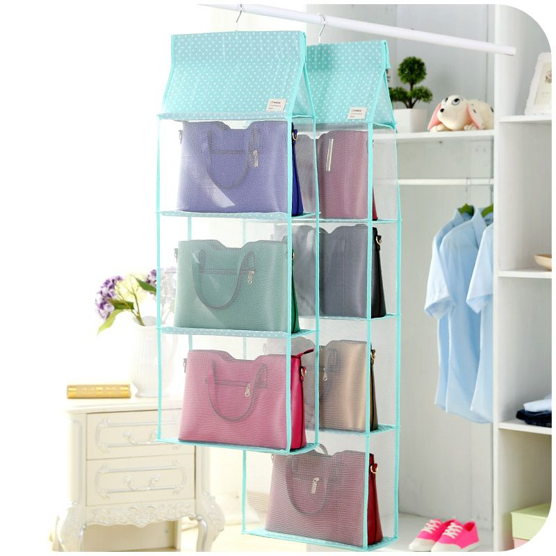 Hanging Storage Bag Multi Purpose Folding Wardrobe Closet Organizer 3/4  Layer Door Hang Bags Clothing Container Bag In Pink Blue